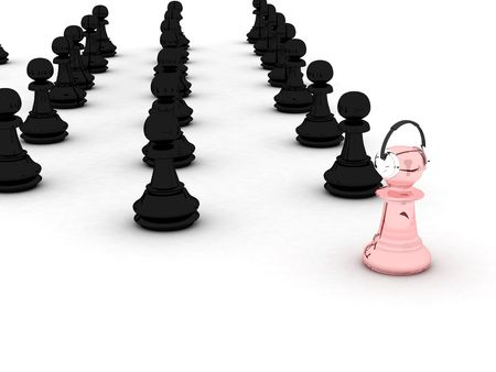 chosen one: Black and pink pawns.  Represents conception of: advancement, growth, progress, evolution etc. Stock Photo