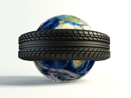 new tyre around the world on isolated white background Stock Photo