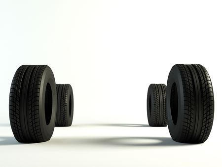Four brand new tyre, 3d rendering of car wheel Stock Photo