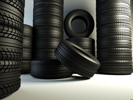 brand new tyres, 3d rendering of car wheel Stock Photo