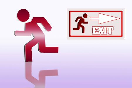 Emergency exit sign isolated diferents colors Stock Photo