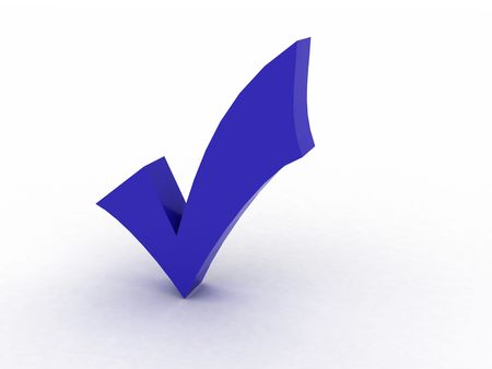 three dimensional shape check mark photo