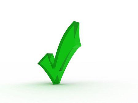 deutschemarks: green glass check mark, three dimensional shape