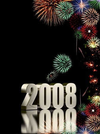 2008 year with fireworks isolated on black background photo