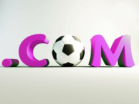 Domain .com with a soccer ball. internet and soccerl concept