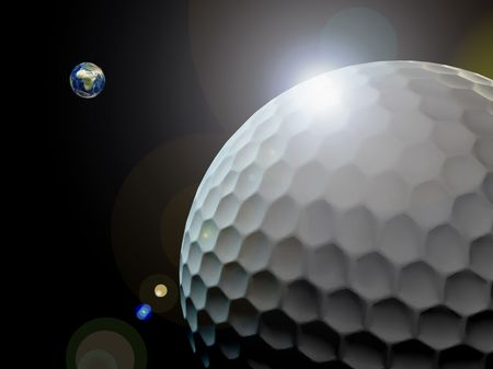 golf ball flying like and  Asteroid Stock Photo