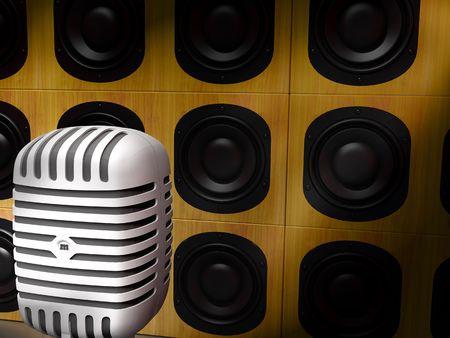 recording studio: A classic retro microphone and speakers. recording studio