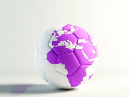 pelota de f�tbol con un mapa del mundo aislado m�s de blanco  Foto de archivo - 2346152