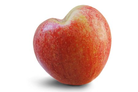 red heart shaped apple isolated over white