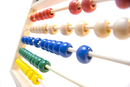 A colorful abacus on a white background.  Stock Photo