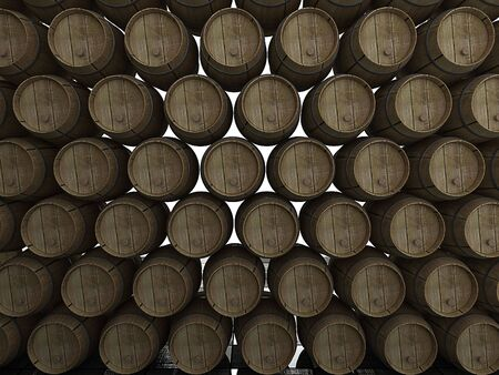 Stack of wooden wine barrels. 3d Stock Photo