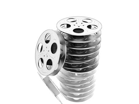 film reels over white Stock Photo