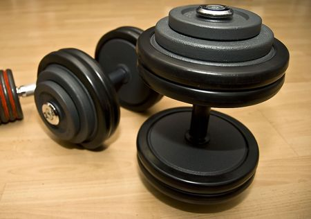 weights, dumbells in the gym