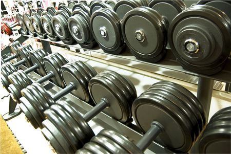 heavy lifting: weights, dumbells in the gym