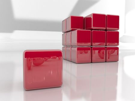 3d rendered puzzle cube Stock Photo - 2455404