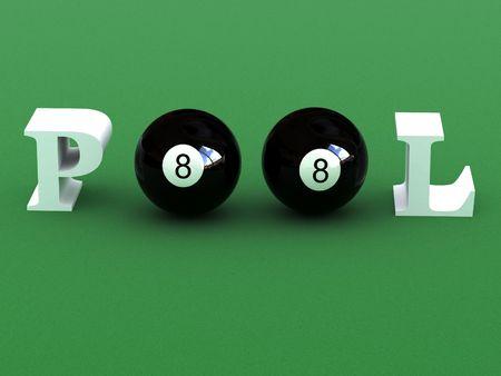 poolball: billiard balls writing pool word Stock Photo