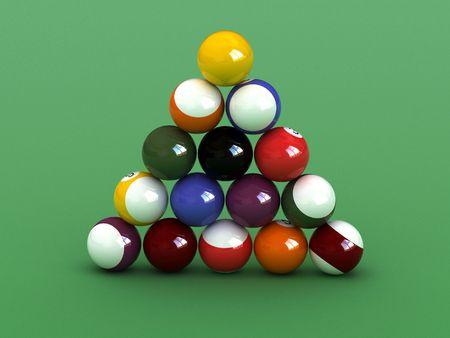 poolball: Pyramid  shaped  pool balls. close up billiard balls.  Stock Photo