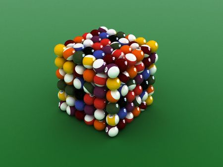 cube shaped  pool balls. close up billiard balls.  Stock Photo