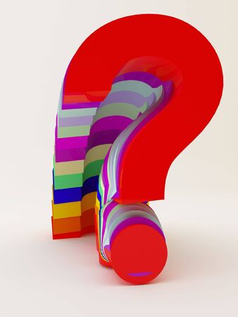 hesitation: So many questions of different colors,  having a lot of doubts  Stock Photo