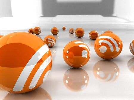 Feed or Rss icon, used in  internet transmision and  association with open web syndication formats such as RSS and Atom. 3D with reflect. Stock Photo - 2516432