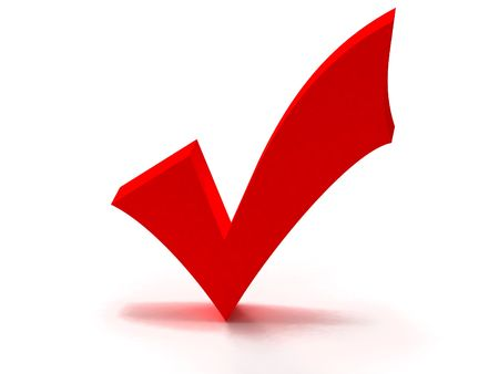 check mark, Red 3D tick turning wrong into right,  can be used as a symbol of approval, yes, choice...