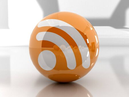 Feed or Rss icon, used in  internet transmision and  association with open web syndication formats such as RSS and Atom. 3D with reflect. Stock Photo - 2516433
