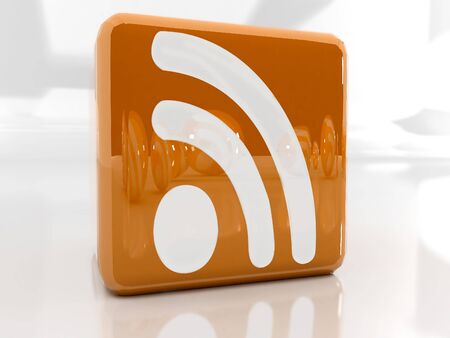 Feed or Rss icon, used in  internet transmision and  association with open web syndication formats such as RSS and Atom. 3D with reflect.