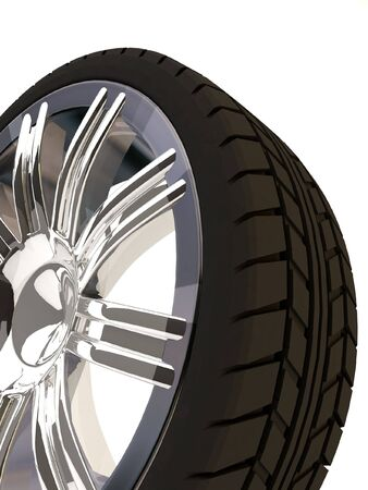Brand new tyre, 3d rendering of car wheel, isolated on white.