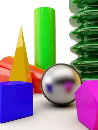 basic shapes,ball,  cone, cylinder, pyramid, spring,..., with vibrant colors