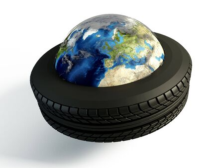wold map: Brand new tire around the world on isolated white background