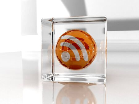 Feed or Rss icon, used in  internet transmision and  association with open web syndication formats such as RSS and Atom. 3D with reflect. Stock Photo - 3132788