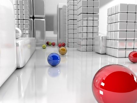 3d illustration, balls differents colors and grey city
