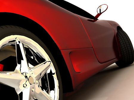 shot  of a  red sports tuning car,