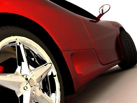 shot van een rode sport tuning auto,