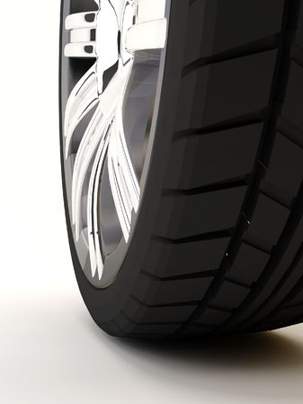 pneumatic tyres: Brand new tire, 3d rendering of car wheel, isolated on white.