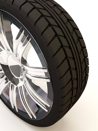 Brand new tire, 3d rendering of  wheel, isolated on white.