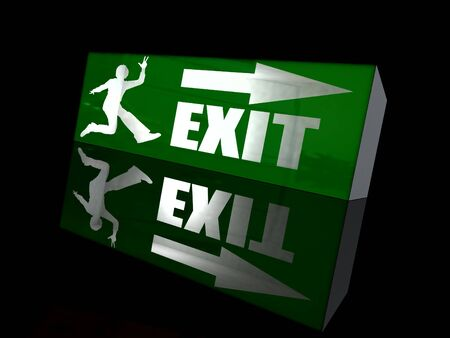 fled: Emergency exit sign with a happy figure