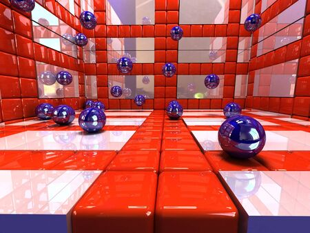 3d abstract background red an white. squares and blue spheres  .three dimensional shape Stock Photo