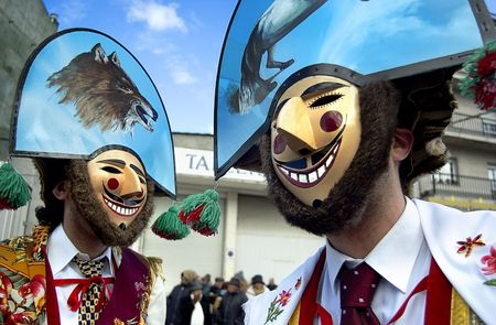 galicia: The Cigarrons, the masked figures typical of the Valley of Monterrei,Galician carnival, Spain