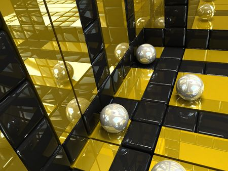3d dimensional: 3d abstract background silver and gold. squares and spheres  .Three dimensional shape Stock Photo