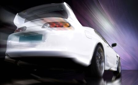 Fast tuning car moving with motion blur Stock Photo