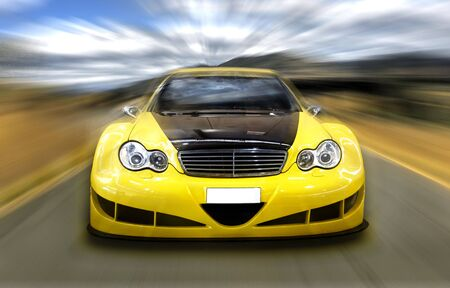 Fast tuning car moving with motion blur Editorial