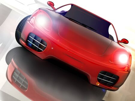 3d mode: red sport nad fast car over mirror; three dimensional shape
