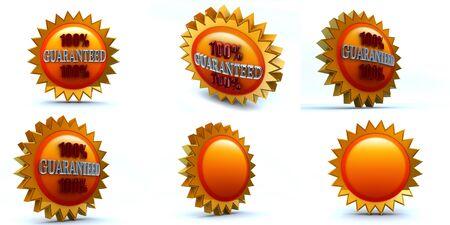 six 3d renders, 100 guaranteed badge Stock Photo