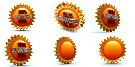 six 3d renders, 100 guaranteed badge Stock Photo