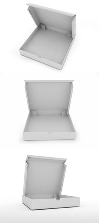 three empty pizza box isolated on a white background.  Stock Photo