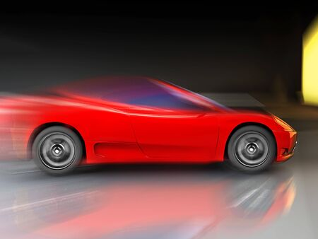 red sport  fast car over mirror; three dimensional shape photo