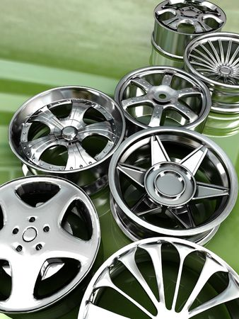 Auto steel alloy car rims over green mirror