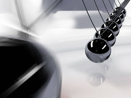 Silver 3d pendulum. Balancing balls Newtons cradle in action over mirror