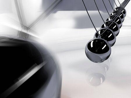 Silver 3d pendulum. Balancing balls Newtons cradle in action over mirror